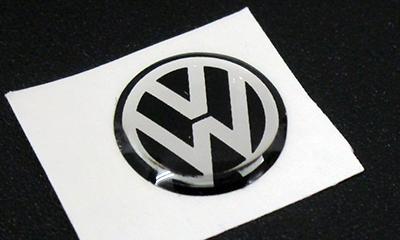 VW Key Fob Badge(ブラック×シルバー/10mm)